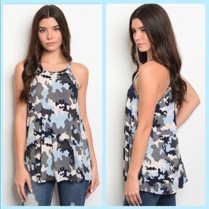Camo print tank top in blue, grey and black